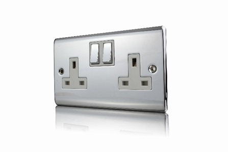 Premspec 2G 13A DP Switched Socket Polished Chrome White Insert