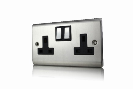 Premspec 2G 13A DP Switched Socket Satin Steel
