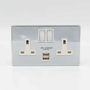 Premspec 2G Switched USB Socket Screwless in Polished Chrome with White Inserts