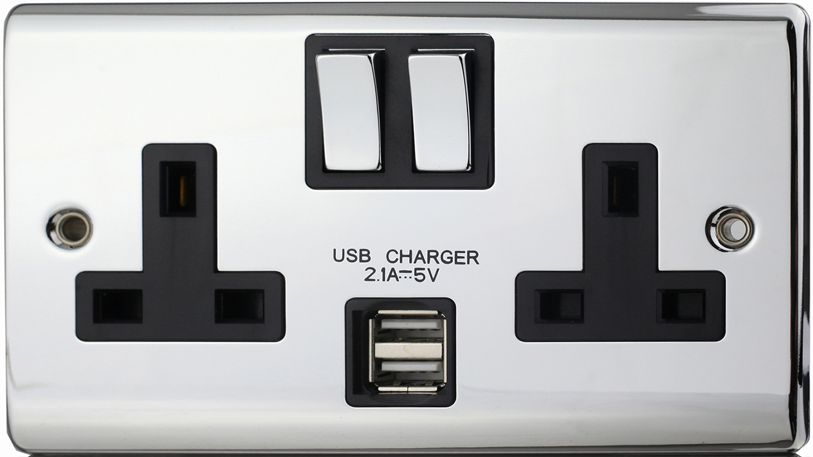 Premspec 13A 2G Switched USB Socket Polished Chrome