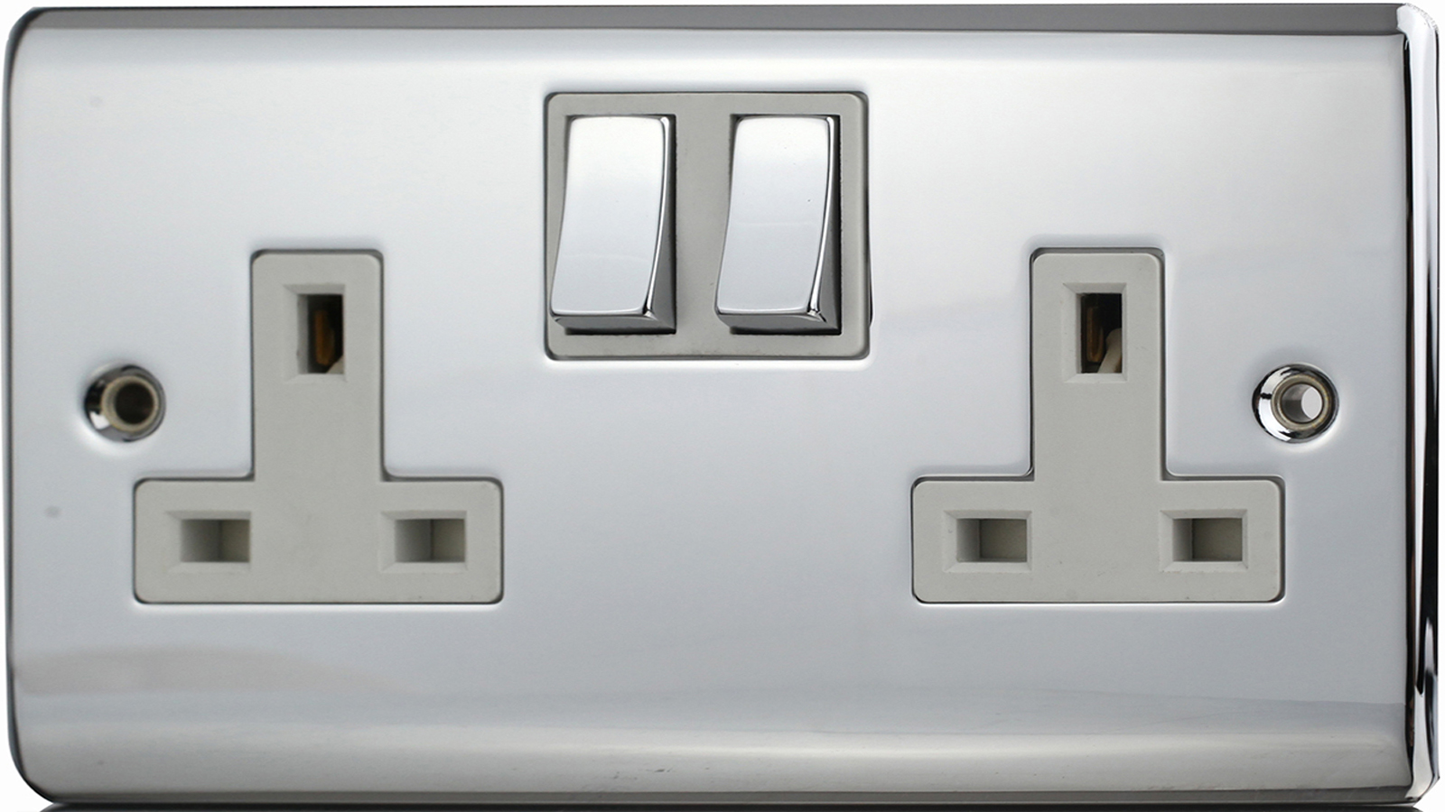 Premspec 2G 13A DP Switched Socket Polished Chrome White Insert