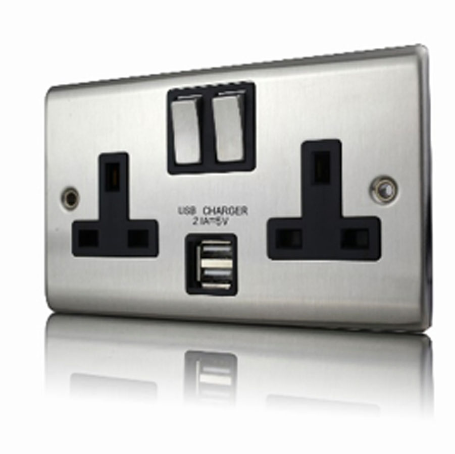 Premspec 2G 13A DP Switched USB Socket Satin Steel Black Insert