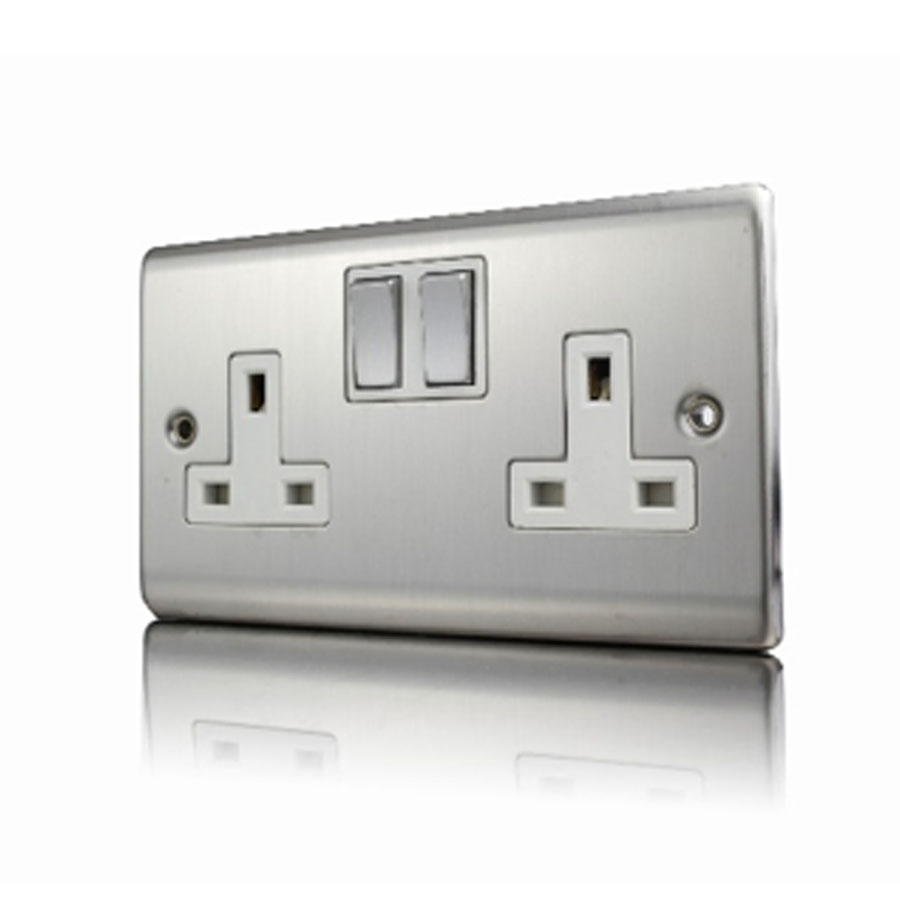 Premspec 2G 13A DP Switched Socket Satin Steel White Insert