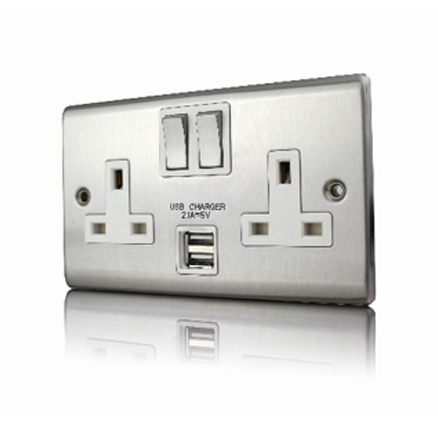 Premspec 2G 13A DP Switched USB Socket Satin Steel White Insert