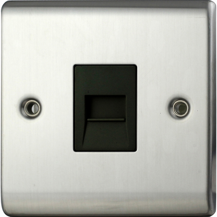 Premspec Secondary Phone Socket Satin Steel