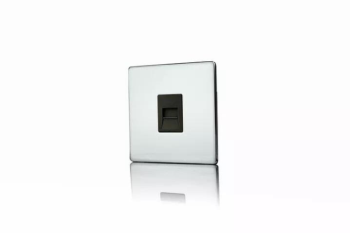 Premspec Master Phone Socket Screwless Polished Chrome Black Insert