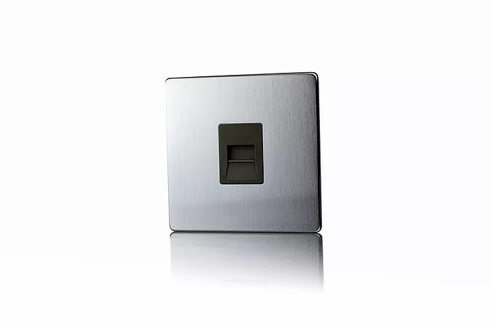 Premspec Master Phone Socket Screwless Satin Steel Black Insert