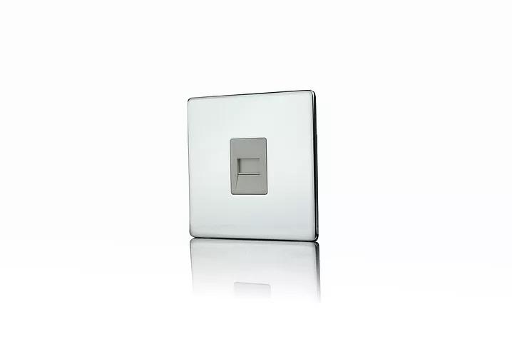 Premspec Master Phone Socket Screwless Satin Steel White Insert