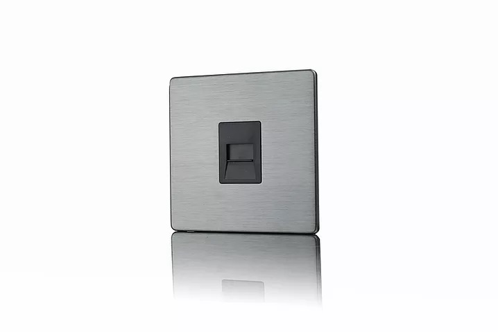 Premspec Master Phone Socket Screwless Satin Nickel