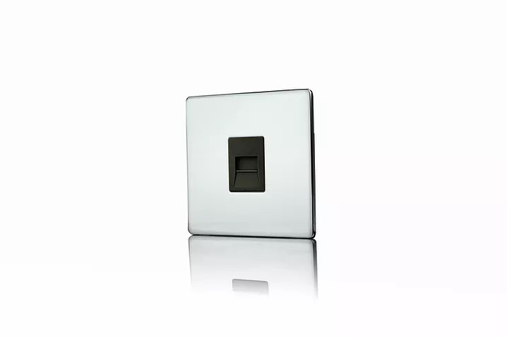 Premspec Secondary Phone Socket Screwless in Polished Chrome with Black Insert