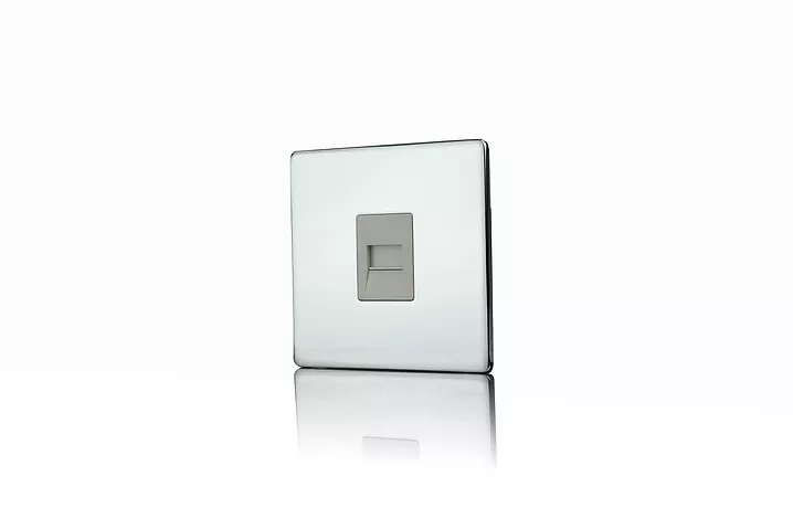 Premspec Secondary Phone Socket Screwless in Polished Chrome with White Insert