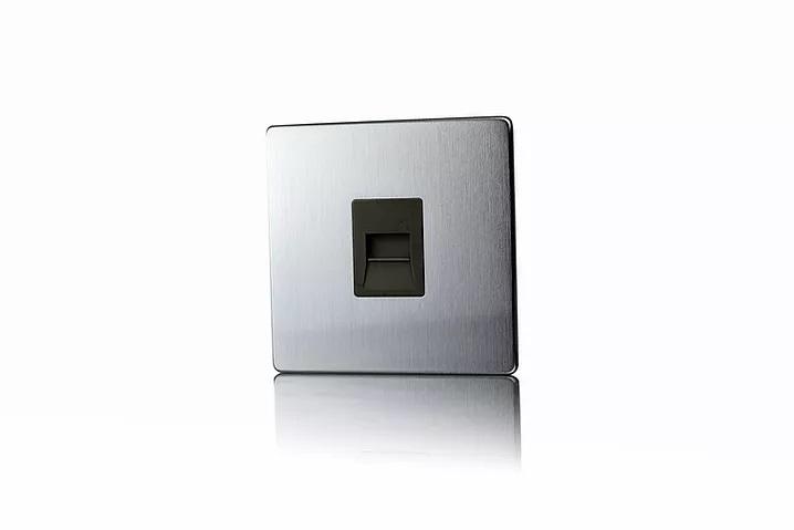 Premspec Secondary Phone Socket Screwless in Satin Steel with Black Insert