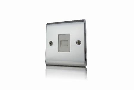 Premspec Slave Phone Socket Polished Chrome White Insert