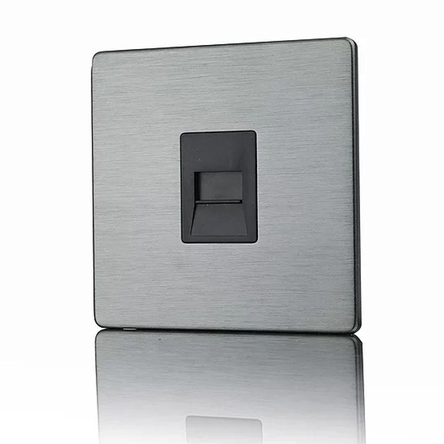 Premspec Secondary Phone Socket Screwless in Satin Nickel