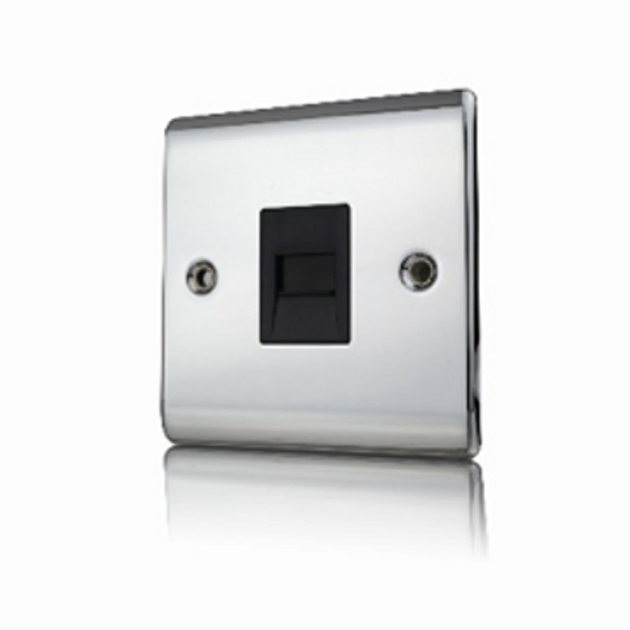 Premspec Slave Phone Socket Polished Chrome Black Insert