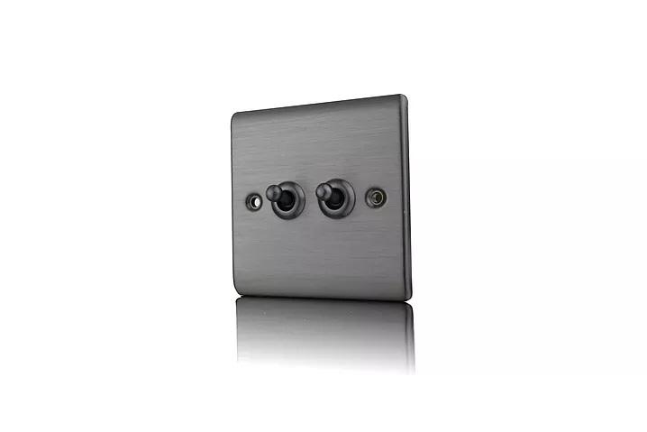 Premspec 10AX 2G 2W Toggle Switch Satin Nickel