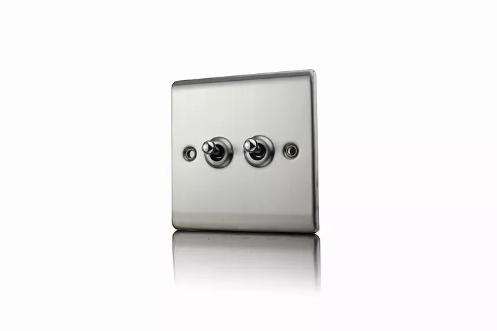 Premspec 10AX 2G 2W Toggle Switch Satin Steel