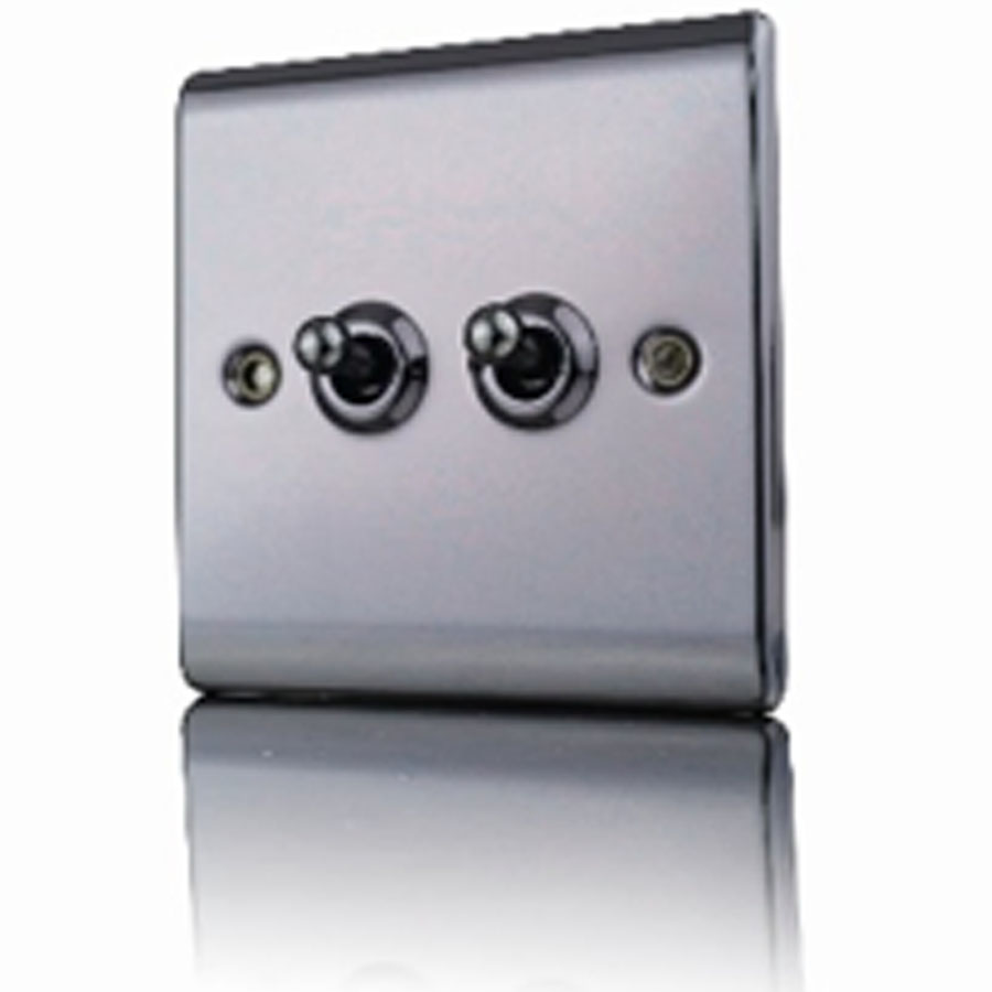 Premspec 10AX 2G 2W Toggle Switch Black Nickel Screwless