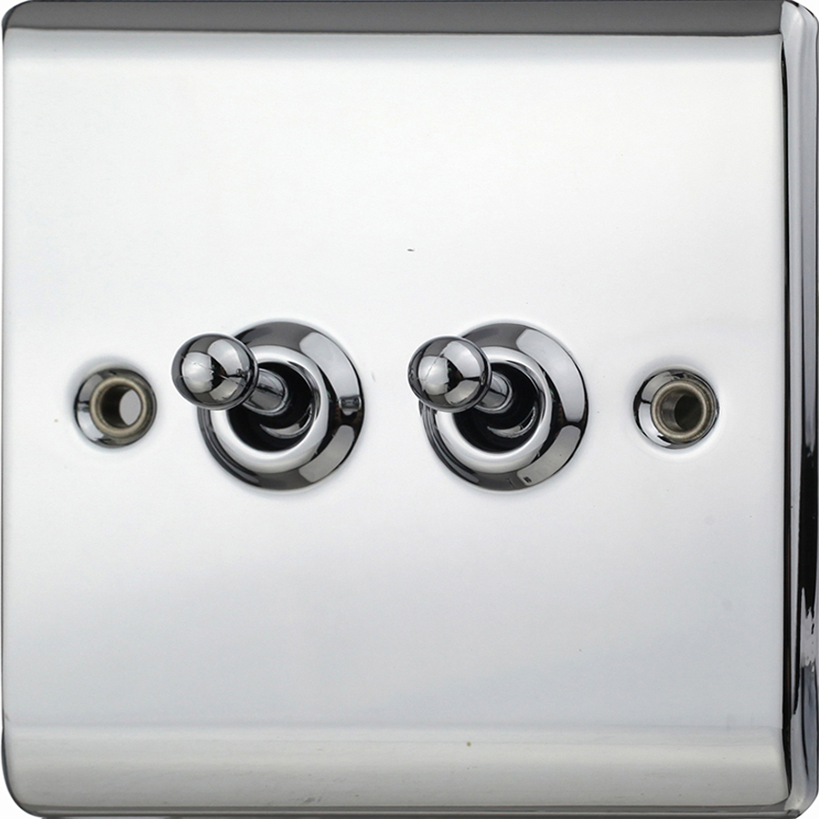 Premspec 10AX 2G 2W Toggle Switch Polished Chrome
