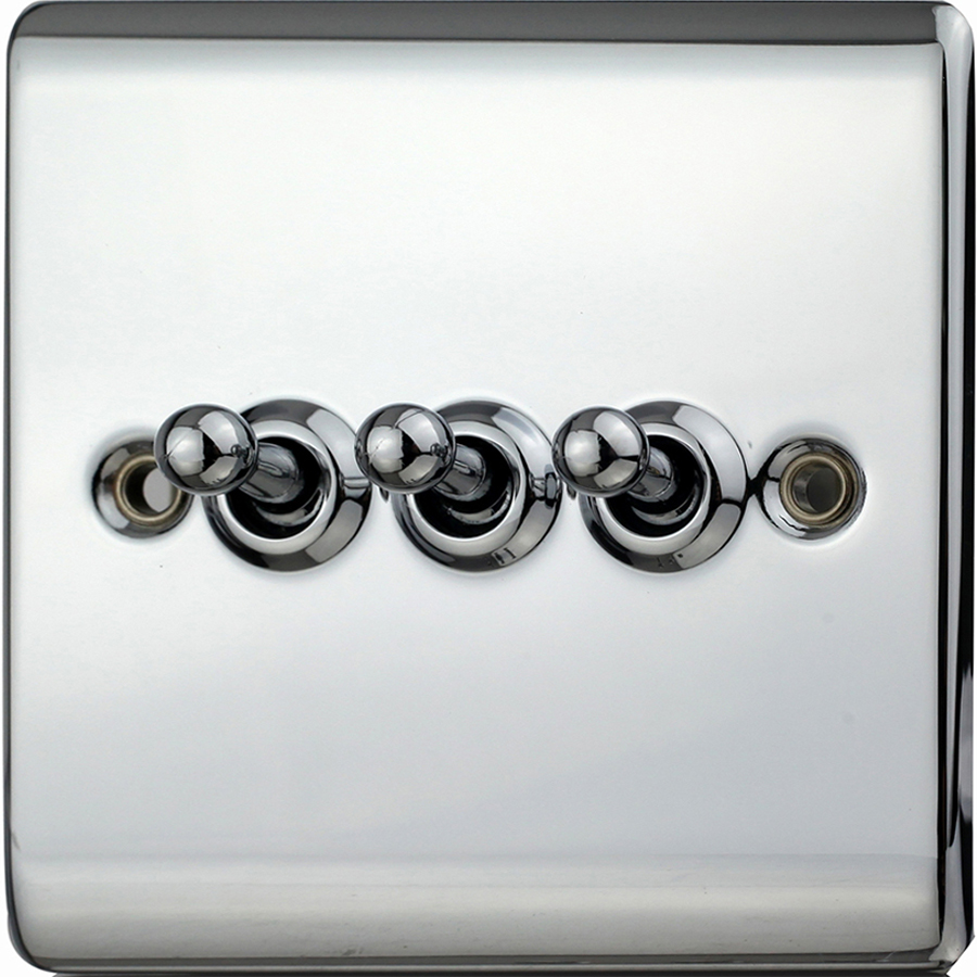 Premspec 10AX 3G 2W Toggle Switch Polished Chrome