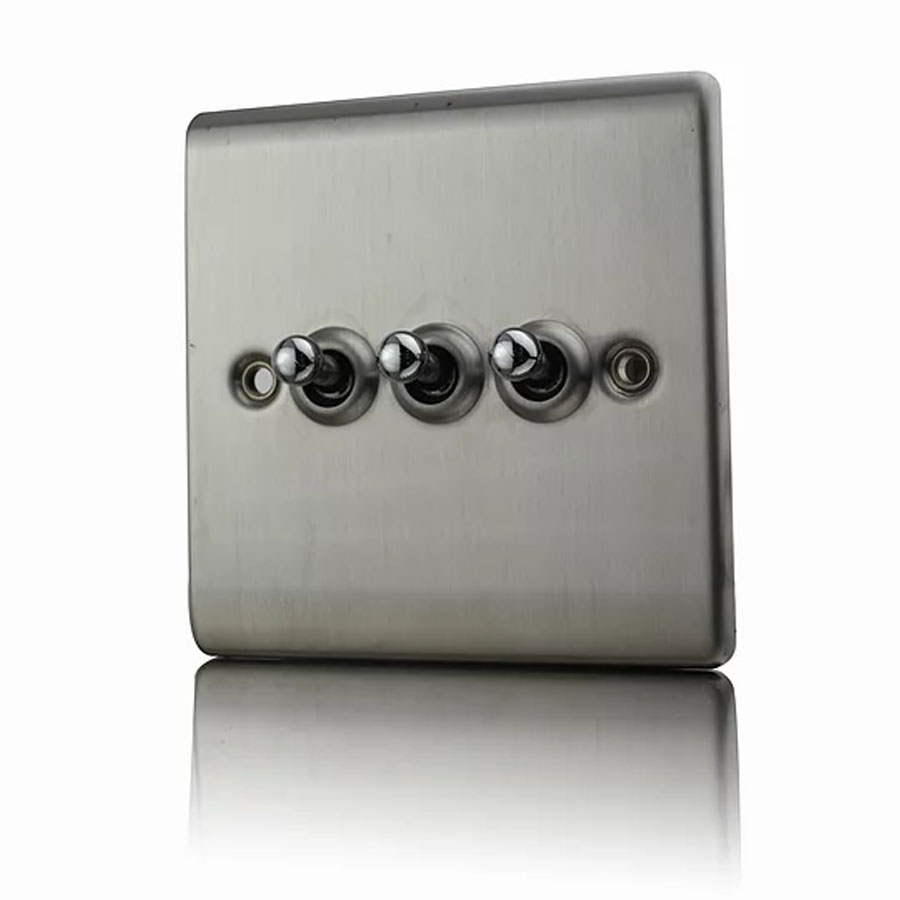 Premspec 10AX 3G 2W Toggle Switch Satin Nickel