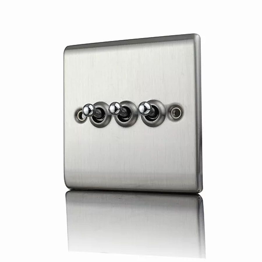 Premspec 10AX 3G 2W Toggle Switch Satin Steel