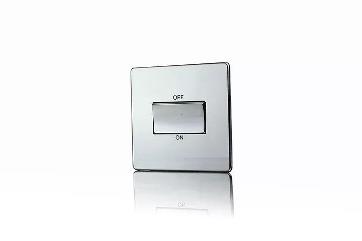 Premspec TP Fan Isolator Switch Screwless In Polished Chrome