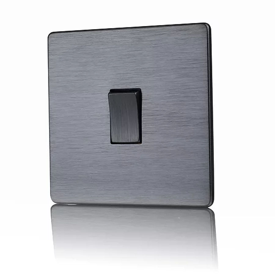 Premspec 1G Intermediate Switch Satin Nickel Screwless