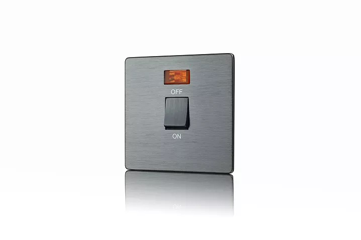 Premspec STYLE Screwless Satin Nickel 20A DP Switch + Neon