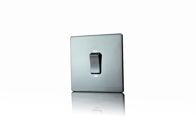 Premspec 45A 1Gang DP Styke Black Nickel Screwless Switch with Neon