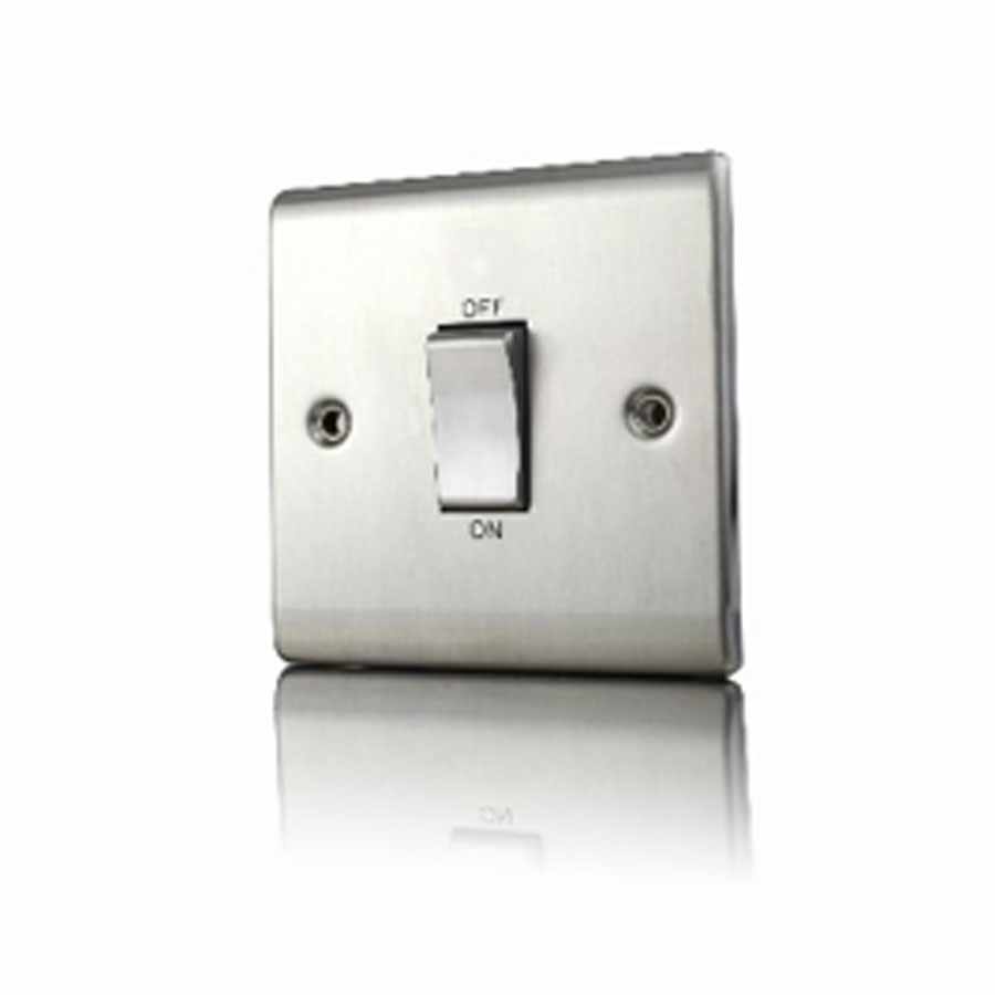 Premspec 45A DP 1G Switch Satin Steel