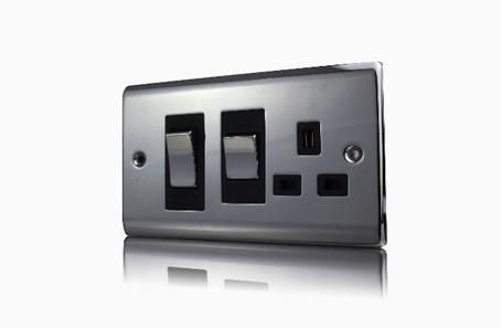 Premspec 45A Cooker Control + Socket Black Nickel