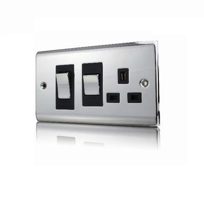 Premspec 45A Cooker Control + Socket Polished Chrome Black Insert