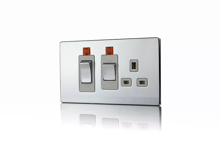 Premspec 45A Cooker Control + Socket with Neon Screwless In Polished Chrome White Insert