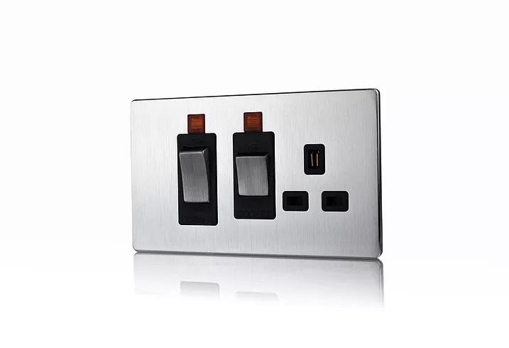 Premspec 45A Cooker Control + Socket with Neon Screwless In Satin Steel Black Insert