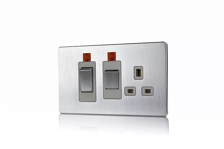 Premspec 45A Cooker Control + Socket with Neon Screwless In Satin Steel White Insert