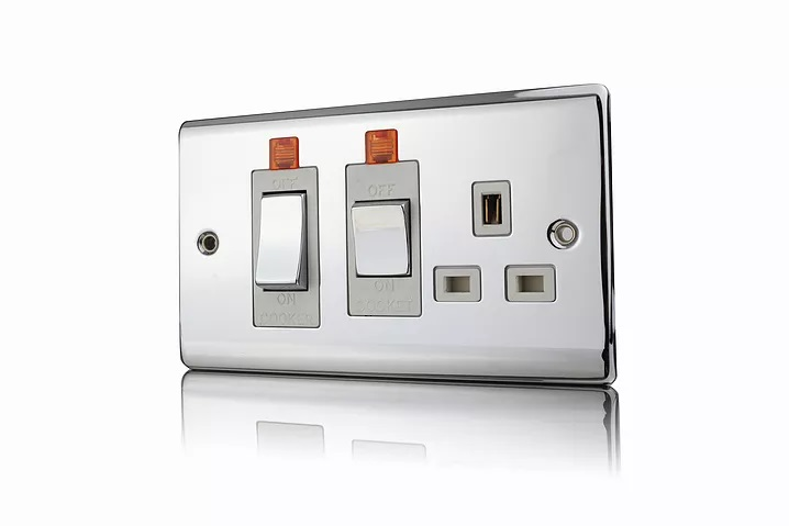 Premspec 45A Cooker Control + Socket With Neon  Polished Chrome White Insert