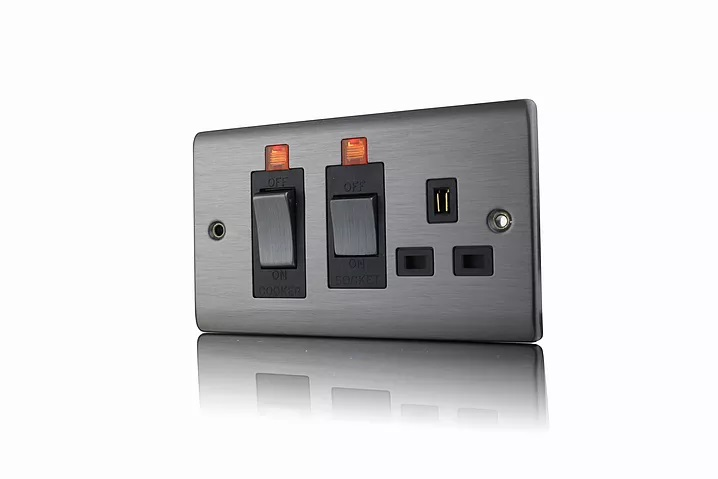 Premspec 45A DP Switch Socket + NEON Satin Nickel