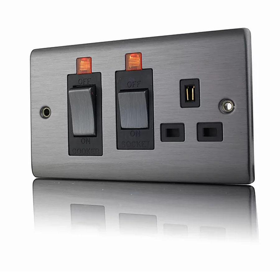 Premspec 45A Cooker Control + Socket With Neon  Black Nickel