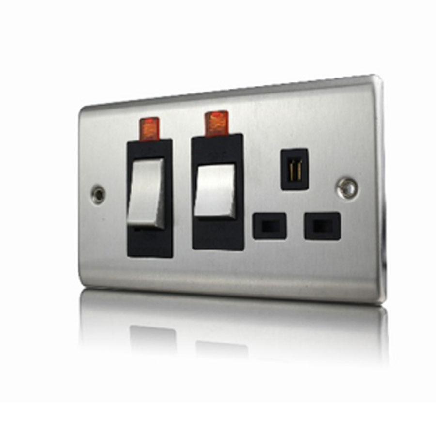 Premspec 45A Cooker Control + Socket With Neon Satin Steel Black Insert