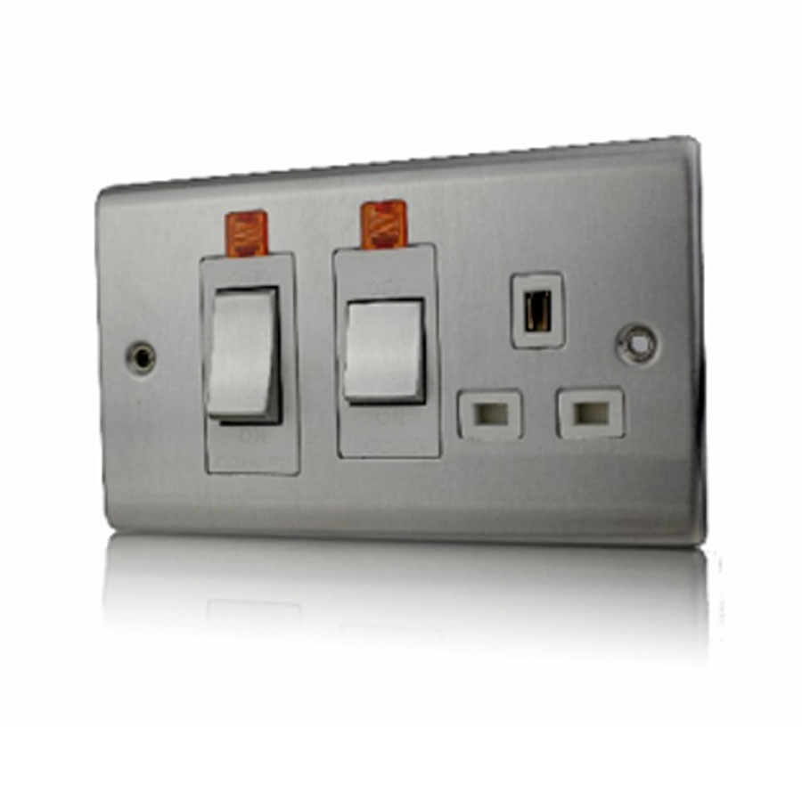 Premspec 45A Cooker Control + Socket With Neon Satin Steel White Insert