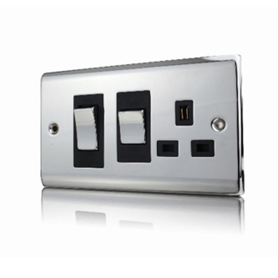 Premspec 45A COOKER CONTOL + Socket Polished Chrome