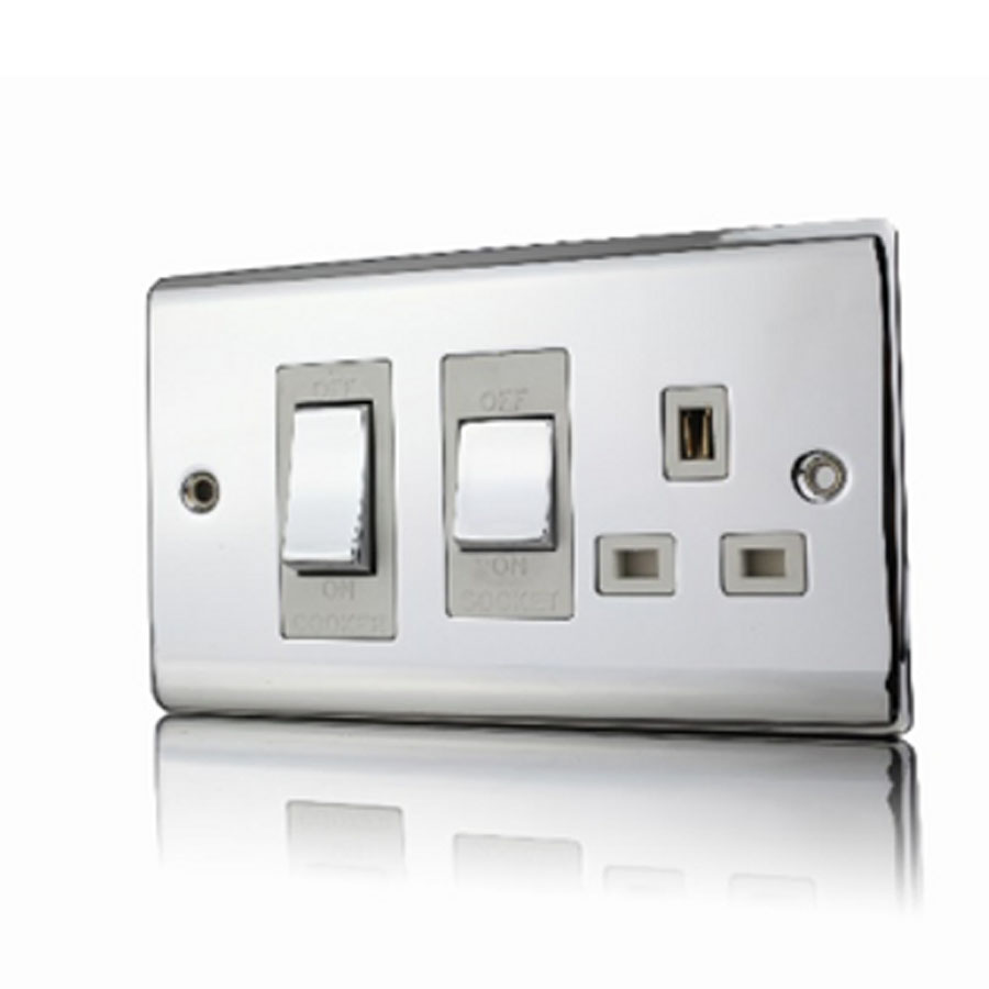 Premspec 45A Cooker Control + Socket Polished Chrome White Insert