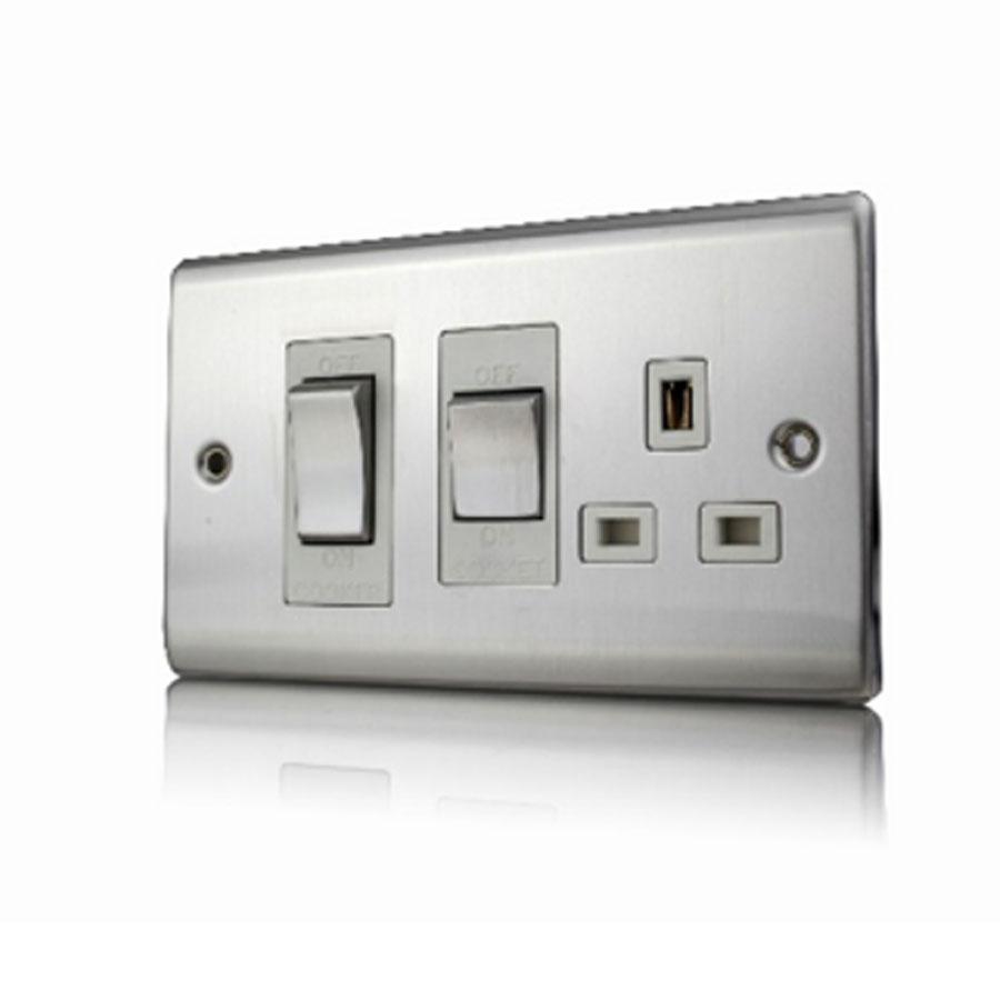 Premspec 45A Cooker Control + Socket Satin Steel White Insert