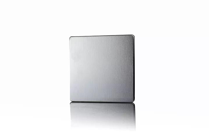 Premspec 1G Blank Plate Screwless Satin Steel