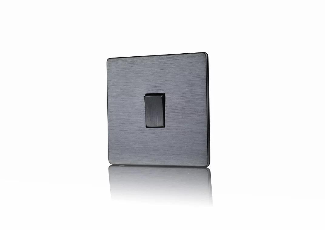 Premspec 1 Gang 2W 10AX Switch in Screwless Satin Nickel