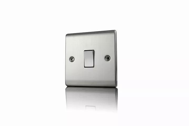 Premspec 1G 2W 10AX Switch Satin Steel