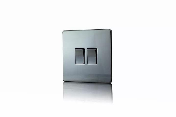 Premspec 2G 2W 10AX Switch in Screwless  Black Nickel