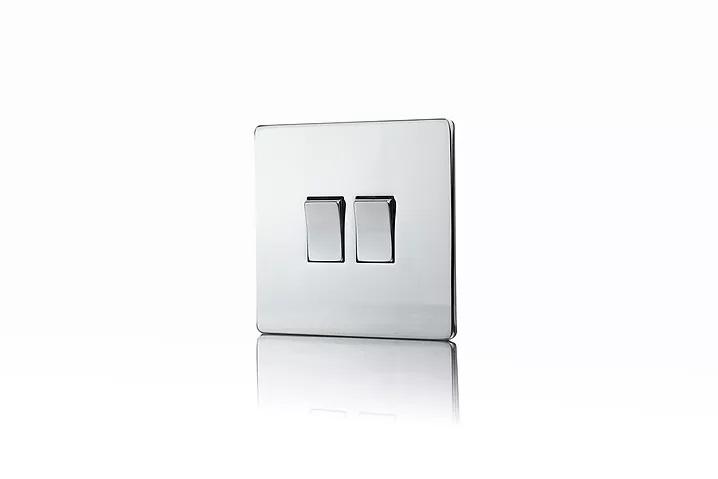 Premspec 2G 2W 10AX Switch Screwless In Polished Chrome