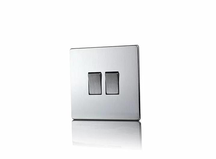 Premspec 2G 2W 10AX Switch Screwless In Satin Chrome
